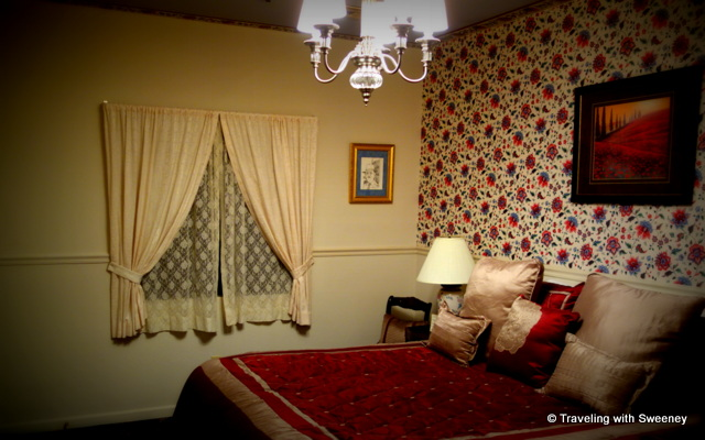 Bedroom of a 4th floor suite at the Cary House Hotel in Placerville, California