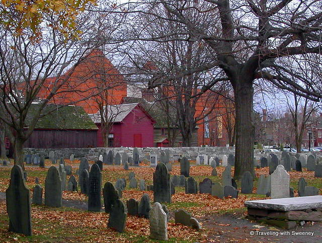 Tombstones at Old Burying Point Cemetery in Salem, Massachusetts