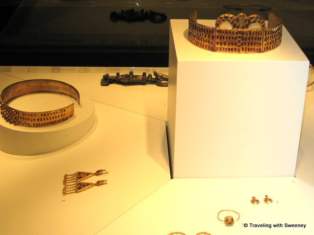 Crowns and jewelry artifacts at Roman - Germanic Museum in Cologne, Germany