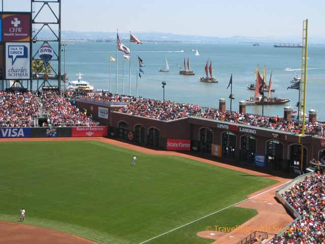 Boats at AT&T Park (now named Oracle Park)