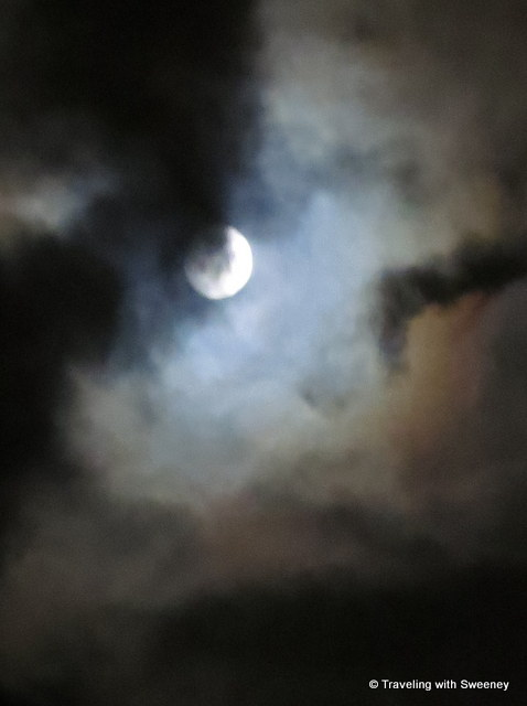 Spooky moon and clouds seen in Barcelona, Spain