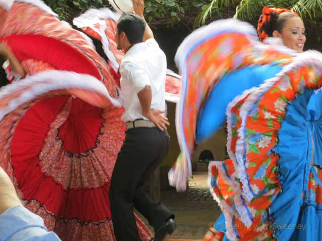 Couples performing traditional Mexican dances at El Meson de los Laureanos in El Quelite, Mexico near Mazatlan