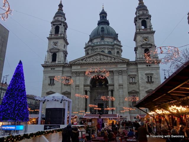 Christmas market at St. Stephen's Basilica, Budapest, Hungary