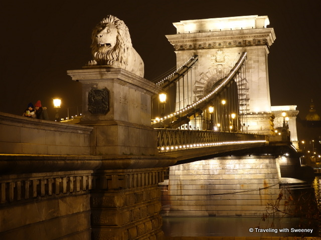 """Chain Bridge over the Danube linking the Buda and Pest sides of Budapest at night"""