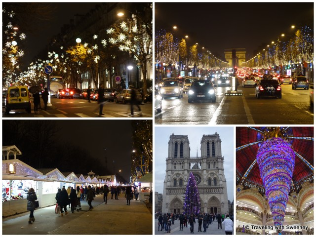 Lights and decorations of the Champs-Élysées, Galeries Lafayette, and Notre Dame Cathedral, Paris, France