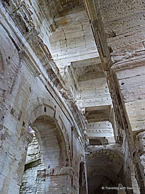 Looking up inside the Roman amphitheater in Arles, France