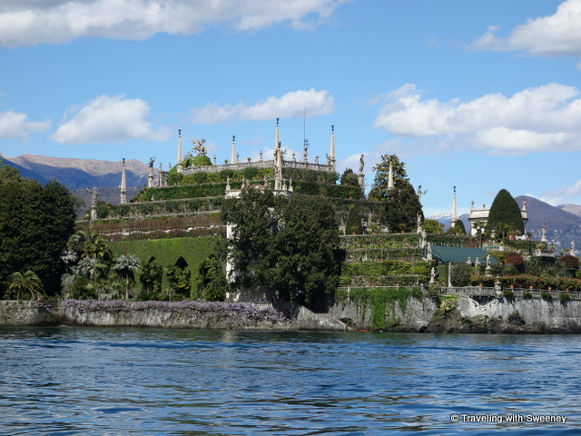 Lake Maggiore Gardens - Isola Bella seen from a boat on Lake Maggiore during our tour of the gardens of Lake Maggiore
