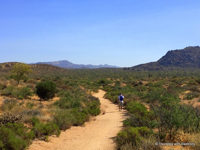 Hiking on a trail at Brown Ranch in Scottsdale, Arizona