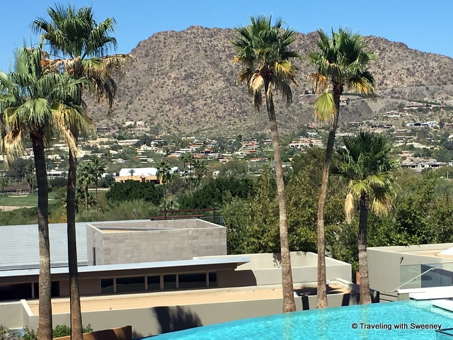 Views of Paradise Valley from elements restaurant at Sanctuary Camelback Resort and Spa