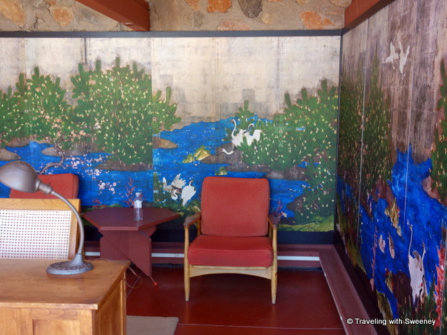 Japanese prints in Wright's library/office at Taliesin West