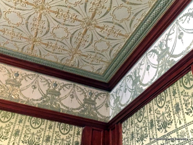 Beautifully-restored ceiling and walls of Pabst Mansion