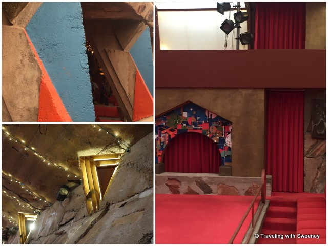 Left: Exterior and interior walls and ceiling of the cabaret -- Right: Music Pavilion