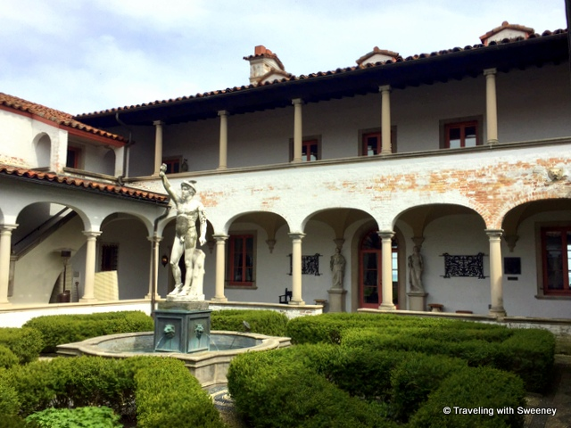 Italian Renaissance entrance courtyard of Villa Terrace Decorative Arts Museum in Milwaukee, Wisconsin