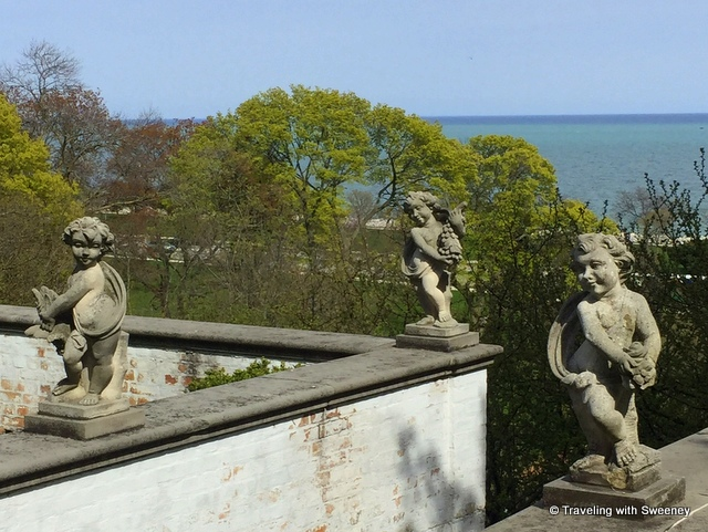 Statues on the terrace above the Renaissance Garden overlooking Lake Michigan at Villa Terrace Decorative Arts Museum in Milwaukee, Wisconsin
