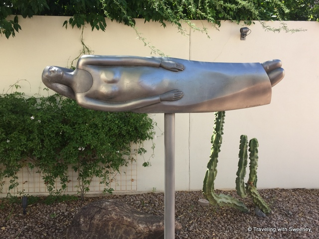 """Woman in Love"", a stainless-steel sculpture by Bob Haozous,at the Heard Museum"