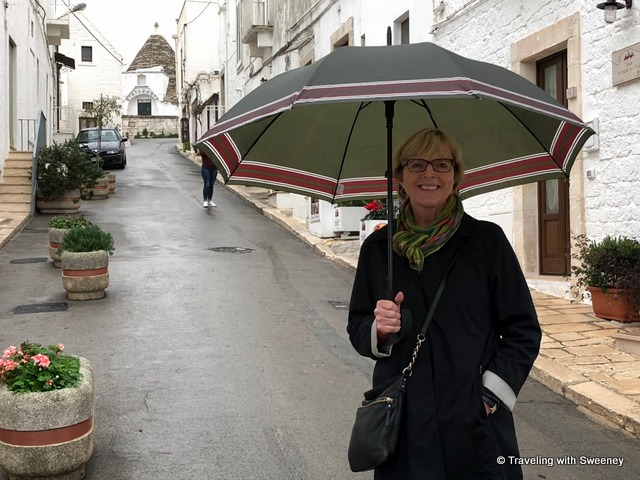 Strolling through Alberobello, Italy,on a rainy day
