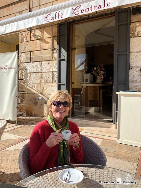 Espresso time at Caffè Centrale on Piazza della Libertà in Ostuni, Italy