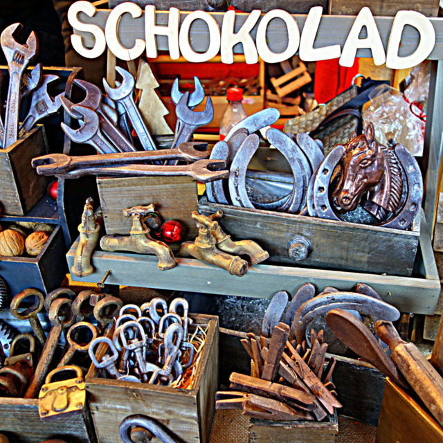 Chocolate takes on the forms of tools at a Christmas market booth in Nuremberg, Germany