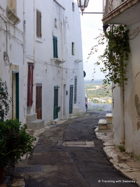One of the narrow alleys winding through Ostuni, Italy