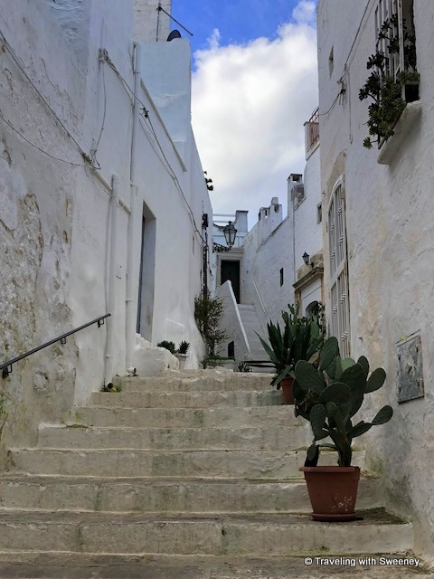 Up the stairs to another series of lovely homes in Ostuni, Italy