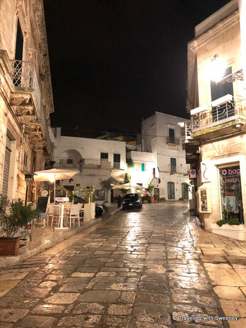Historic center of Ostuni on a rainy night