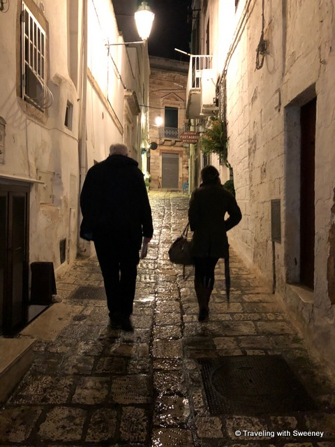 Mr. TWS and our host Elena on our night stroll in Ostuni, Italy