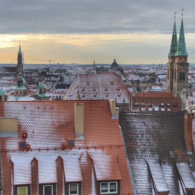 View of snowy Nuremberg from the Imperial Castle
