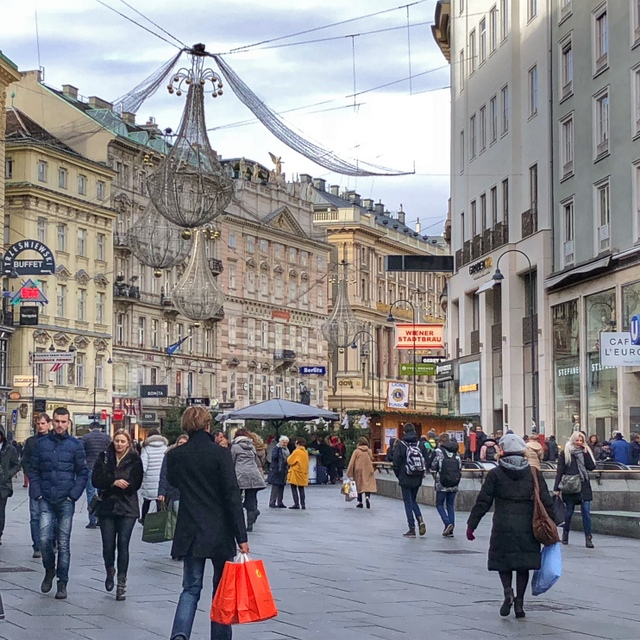 Shoppers on a busy street in Vienna, Austria