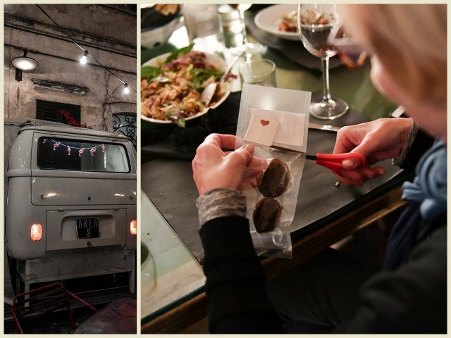 Van in wall doubles as DJ space and Catherine Sweeney opens her fortune cookie at Area 8 in Matera, Italy -- Photos by Federica Donadi