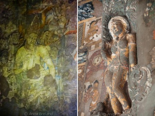 Ajanta is known for its wall paintings, its sculptures and elaborately carved and painted decorations. The Ajanta caves are older than those of Ellora, carved between 6th century BC and 6th century AD. -- Photo by Anita's Feast