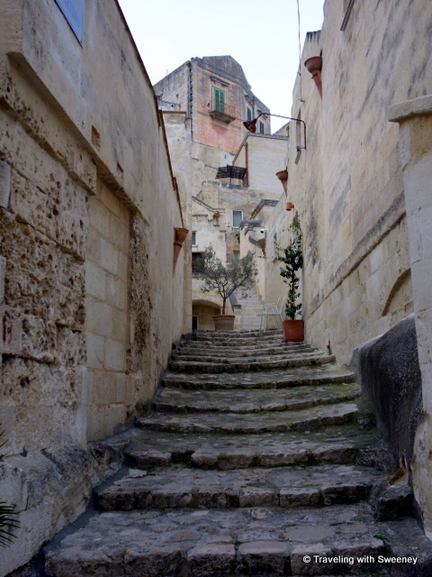 One of many ancient stone stairways leading to homes in the Sassi di Matera, Italy