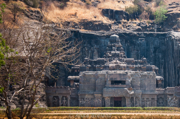 At Ellora, we marveled at a colossal carriage of the gods, carved directly into the hillside. Carved from top to bottom and back to front, no scaffolding was used in the construction of Ellora's sculptures and monastery caves. --- Photo by Anita's Feast