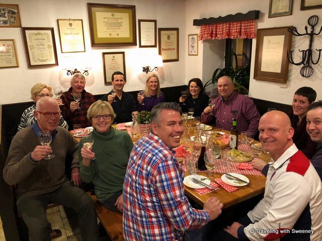 Heurigen evening excursion in Vienna, Austria with fellow Viking Gullveig passengers and crew