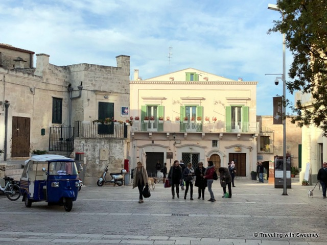Tourists and shoppers in Matera, Italy