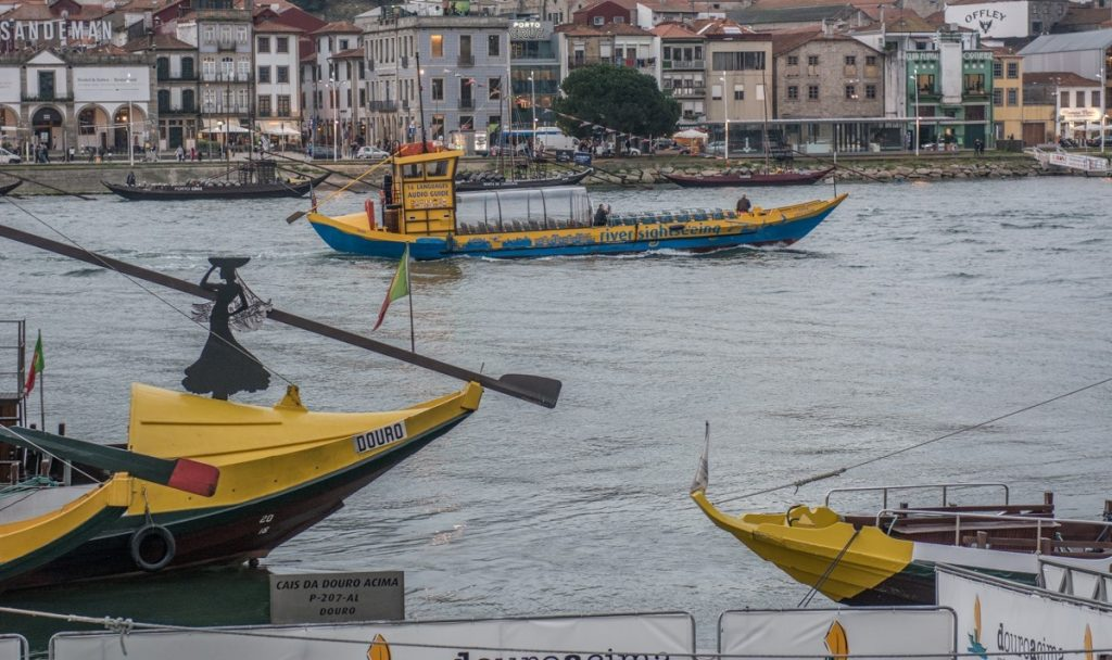 Boats on the Douro River in Porto, Portugal -- Photo by Barbara Nelson