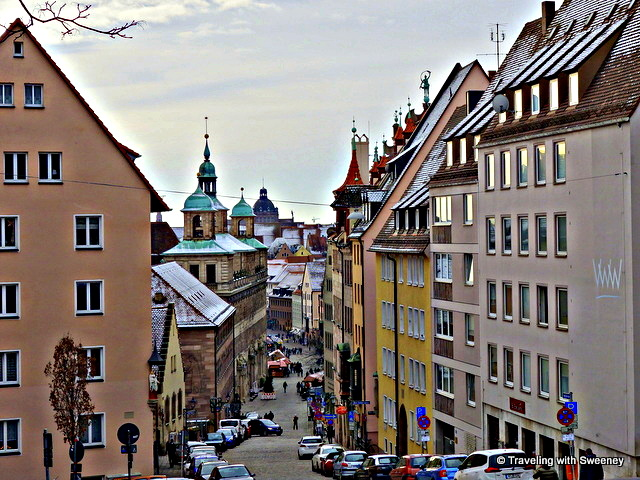 Heading toward the main market square from the Imperial Castle in Nuremberg, Germany