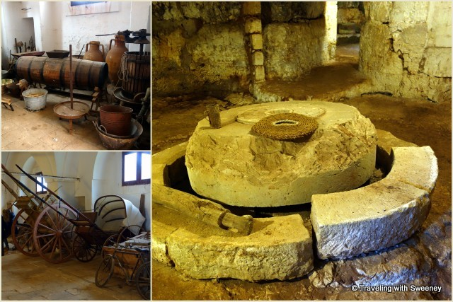 Left -- Old masseria artifacts; Right -- Inside the underground olive mill at Antica Masseria Brancati