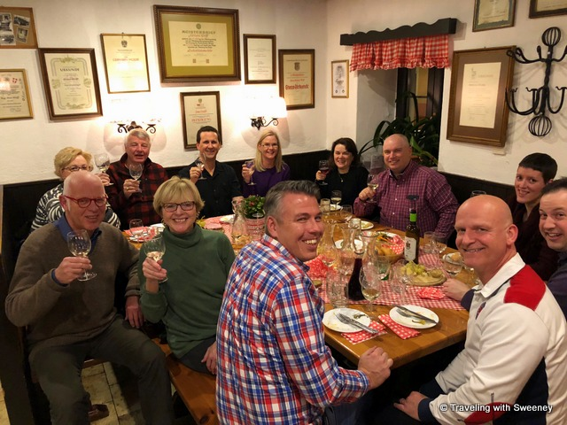 High spirits with a small group of passengers and Viking River Cruises crew in Vienna at a local heurige (vineyard and wine tavern) in the 19th district of the city