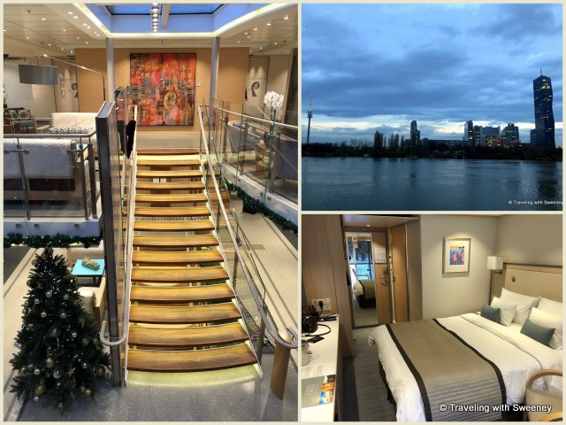 Viking Gullveig staircase, stateroom, and view of modern Vienna from a veranda stateroom