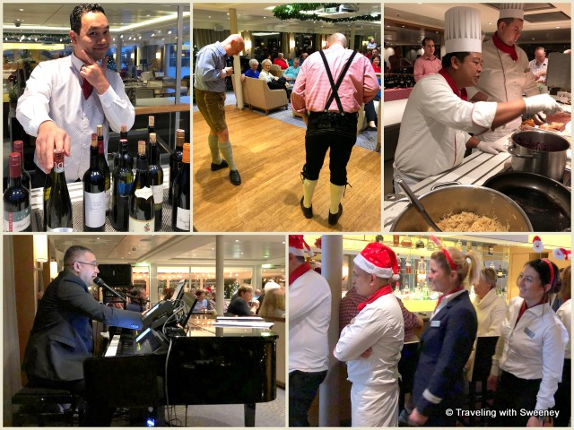Festivities on board the Viking Gullveig during a Romantic Danube cruise: crew members don Santa hats and lederhosen to entertain the guests
