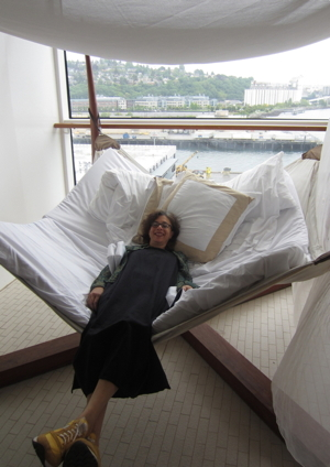 Relaxing in a tent chair on the Celebrity Solstice