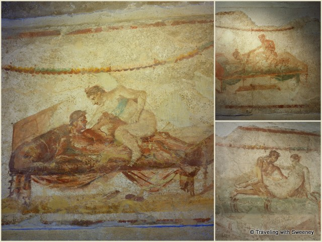 Graphic depictions of services rendered at the brothels of Pompeii