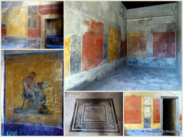 Murals and mosaic in wealthy family's home in Pompeii, a UNESCO World Heritage Site in Italy