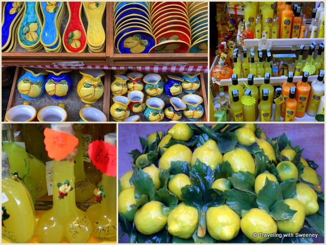 Sorrento souvenirs --- limoncello (including some in racy bottles) and ceramics