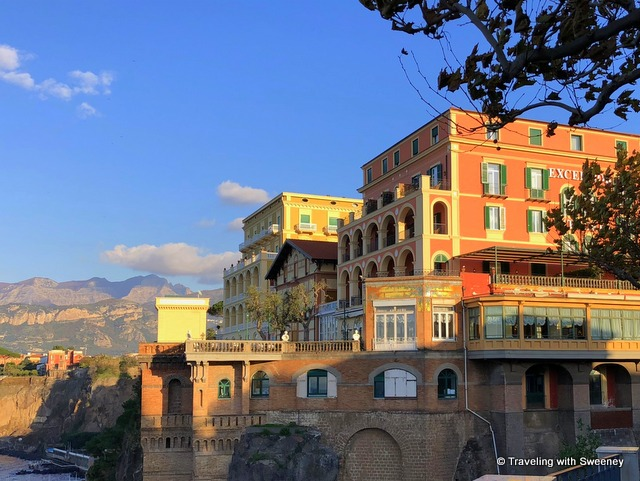 Picturesque cliffside buildings in Sorrento, Italy on a day trip from Rome
