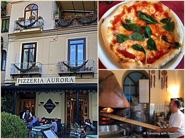 Traditional pizza at Pizzeria Aurora in Sorrento, Italy on a day trip from Rome