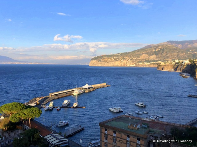 View of the Bay of Naples from Sorrento, Italy on a day trip from Rome