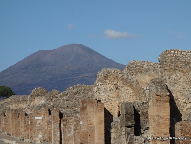 Mount Vesuvius looming over Pompeii and the surrounding area as seen during our day trip from Rome with Walks of Italy