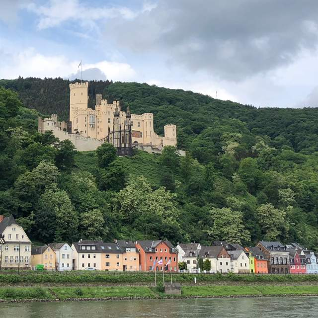 One of the many gorgeous castles on the hillsides along the Rhine River in Germany