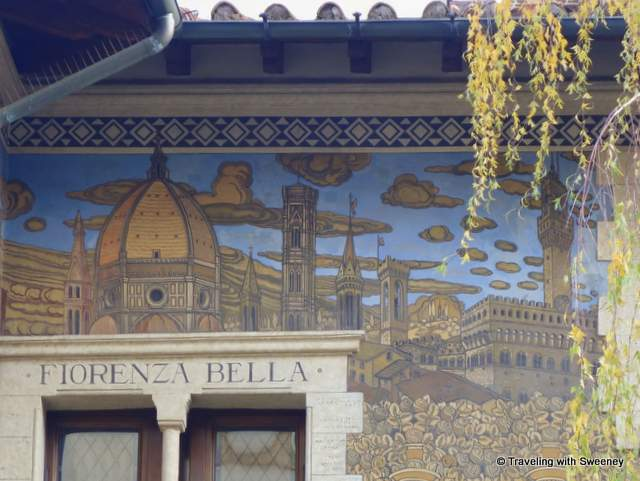 Fresco depicting the Palazzo Signoria of Florence on the Palazzo of the Spider in Quartiere Coppede in Rome, Italy